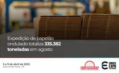 Expedição de papelão ondulado totaliza 335.382 toneladas em agosto de 2021